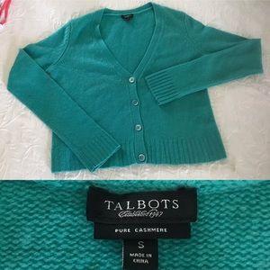 100% cashmere turquoise cardigan sz small Talbots